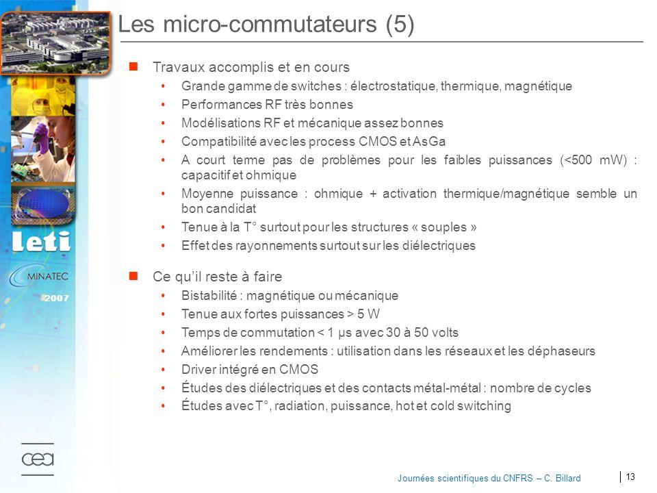13 2007 Journées scientifiques du CNFRS – C. Billard Les micro-commutateurs (5) Travaux accomplis et en cours Grande gamme de switches : électrostatiq