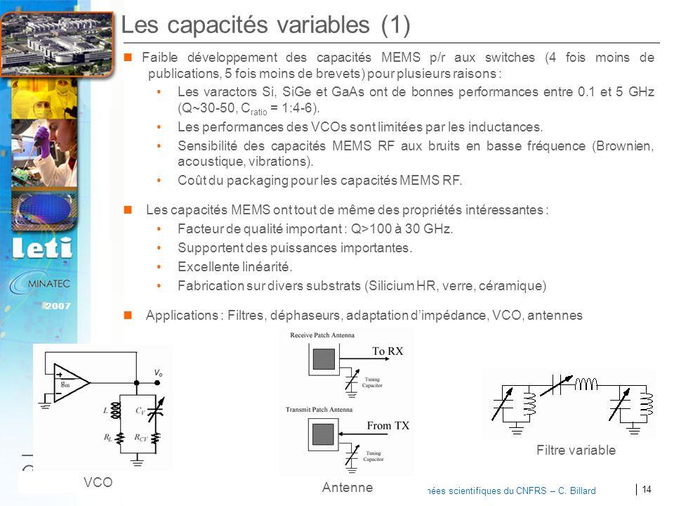 14 2007 Journées scientifiques du CNFRS – C. Billard Les capacités variables (1) Faible développement des capacités MEMS p/r aux switches (4 fois moin
