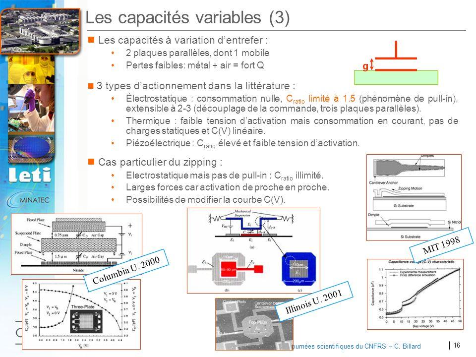 16 2007 Journées scientifiques du CNFRS – C. Billard Les capacités variables (3) Les capacités à variation dentrefer : 2 plaques parallèles, dont 1 mo
