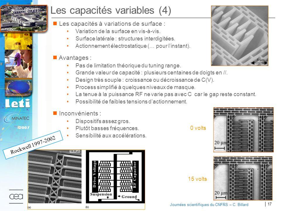 17 2007 Journées scientifiques du CNFRS – C. Billard Les capacités variables (4) Les capacités à variations de surface : Variation de la surface en vi