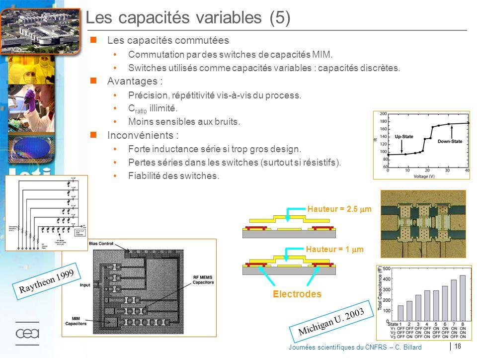 18 2007 Journées scientifiques du CNFRS – C. Billard Les capacités variables (5) Les capacités commutées Commutation par des switches de capacités MIM