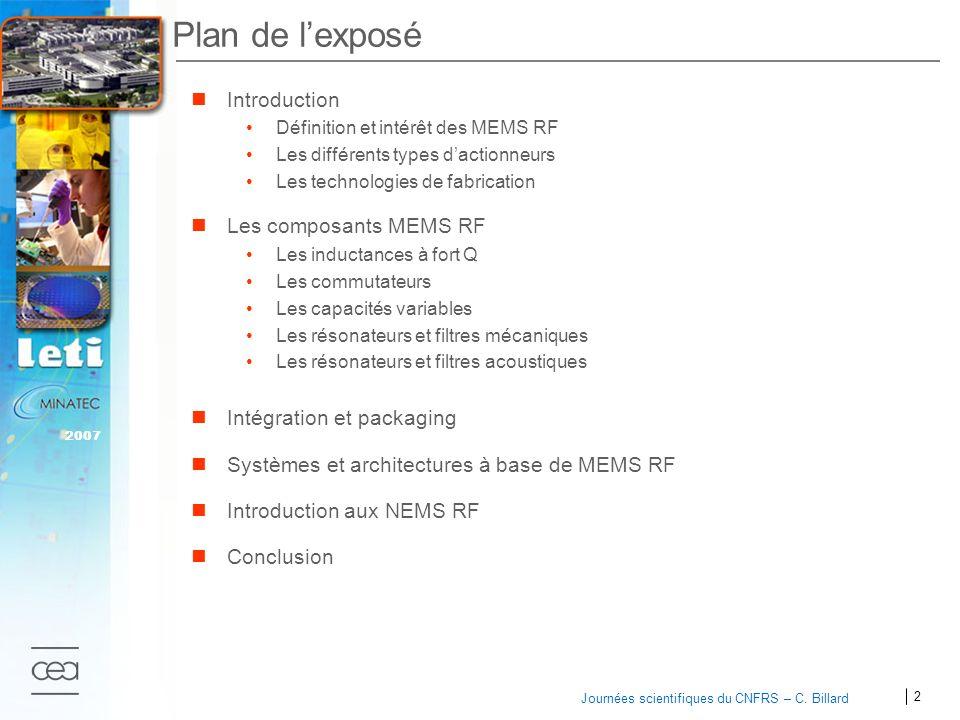 2 Journées scientifiques du CNFRS – C. Billard Plan de lexposé Introduction Définition et intérêt des MEMS RF Les différents types dactionneurs Les te