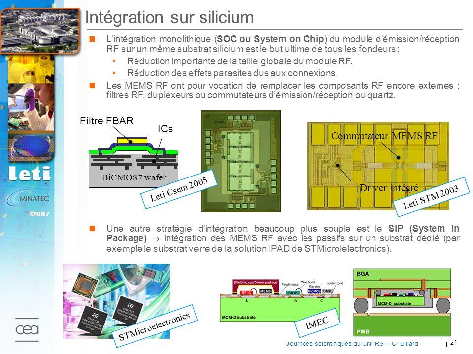 21 2007 Journées scientifiques du CNFRS – C. Billard Lintégration monolithique (SOC ou System on Chip) du module démission/réception RF sur un même su