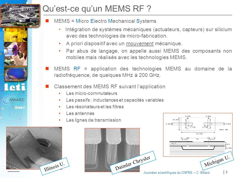 3 2007 Journées scientifiques du CNFRS – C. Billard Quest-ce quun MEMS RF ? MEMS = Micro Electro Mechanical Systems Intégration de systèmes mécaniques