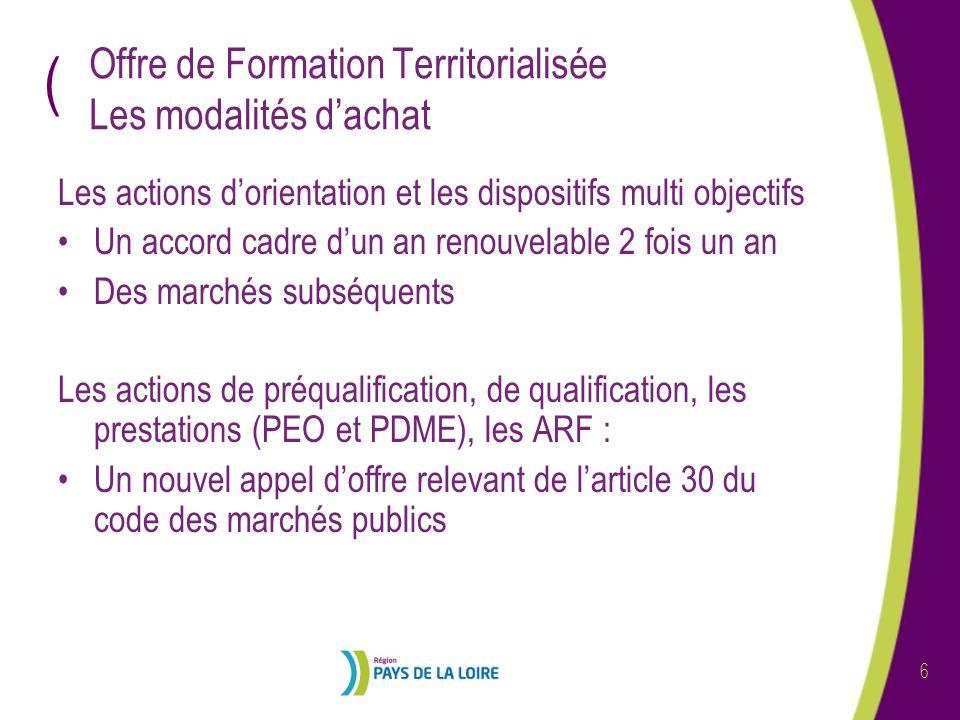 ( 7 Le calendrier Les actions dorientation et les dispositifs multi objectifs (article 76) : -Reconduction des accords cadres en février 2009 -Lancement des marchés subséquents