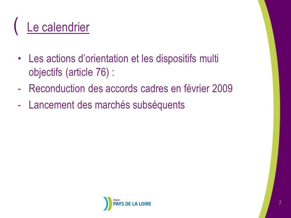 ( 8 Le calendrier (suite) Les autres actions et prestations (article 30) : -Lancement de lappel doffre sur la plateforme ATEXO début février 2009 -Retour des offres le 13 mars à 12 h 00 -Attribution des marchés en CAO de début juin -Démarrage des marchés à partir de septembre 09