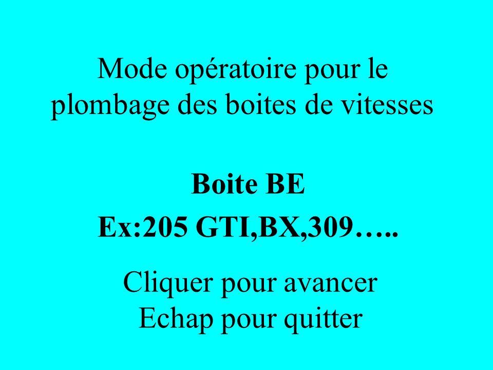 Mode opératoire pour le plombage des boites de vitesses Boite BE Ex:205 GTI,BX,309….. Cliquer pour avancer Echap pour quitter