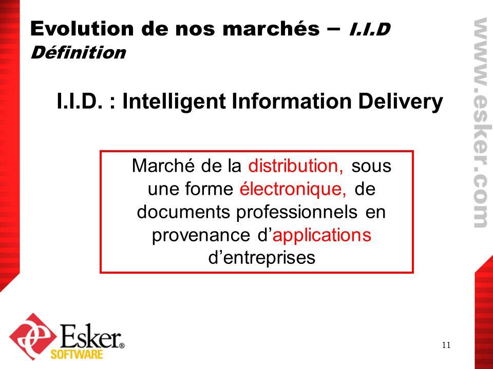 11 I.I.D. : Intelligent Information Delivery Marché de la distribution, sous une forme électronique, de documents professionnels en provenance dapplic