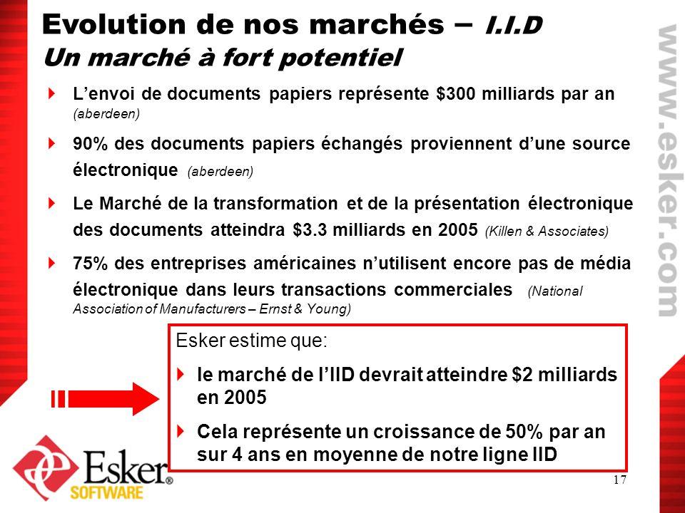 17 Lenvoi de documents papiers représente $300 milliards par an (aberdeen) 90% des documents papiers échangés proviennent dune source électronique (ab