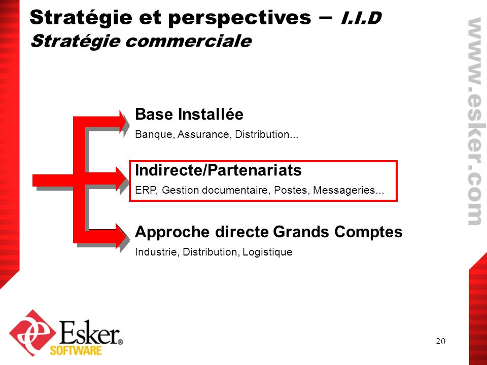 20 Base Installée Banque, Assurance, Distribution... Approche directe Grands Comptes Industrie, Distribution, Logistique Indirecte/Partenariats ERP, G