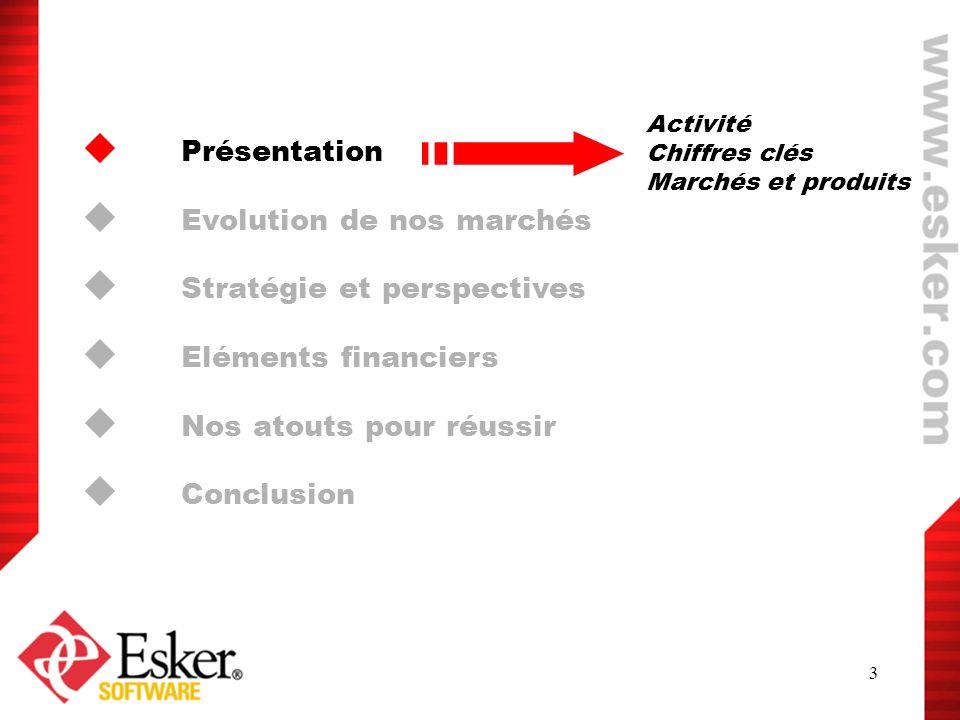3 Présentation Evolution de nos marchés Stratégie et perspectives Eléments financiers Nos atouts pour réussir Conclusion Activité Chiffres clés Marché