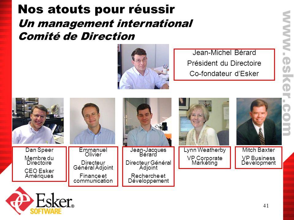 41 Jean-Michel Bérard Président du Directoire Co-fondateur dEsker Emmanuel Olivier Directeur Général Adjoint Finance et communication Dan Speer Membre