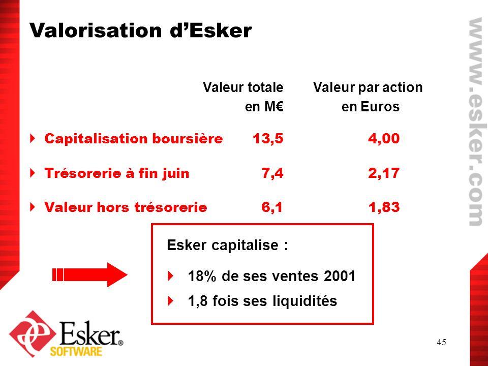 45 Valorisation dEsker Valeur totale Valeur par action en M en Euros Capitalisation boursière 13,5 4,00 Trésorerie à fin juin 7,4 2,17 Valeur hors tré