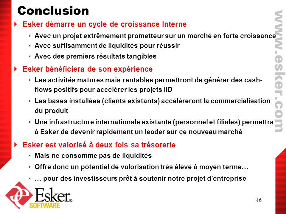 46 Esker démarre un cycle de croissance Interne Avec un projet extrêmement prometteur sur un marché en forte croissance Avec suffisamment de liquidité