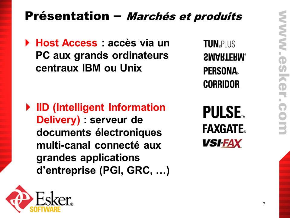 7 Host Access : accès via un PC aux grands ordinateurs centraux IBM ou Unix IID (Intelligent Information Delivery) : serveur de documents électronique