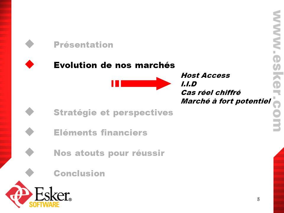 8 Présentation Evolution de nos marchés Stratégie et perspectives Eléments financiers Nos atouts pour réussir Conclusion Host Access I.I.D Cas réel ch