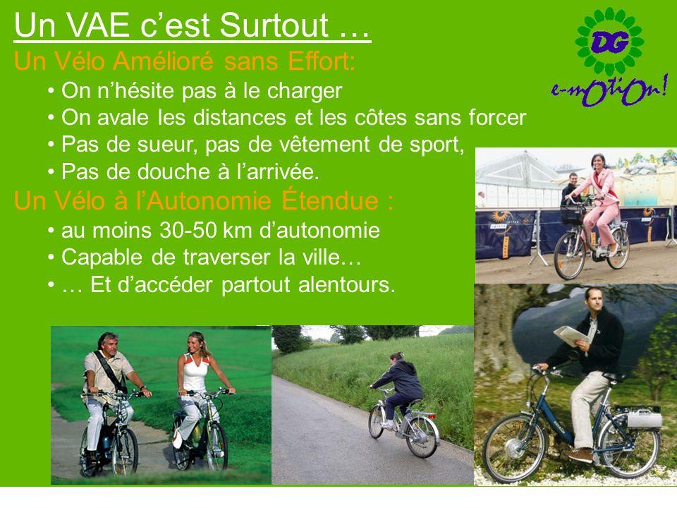 Un VAE cest Surtout … Un Vélo Amélioré sans Effort: On nhésite pas à le charger On avale les distances et les côtes sans forcer Pas de sueur, pas de v