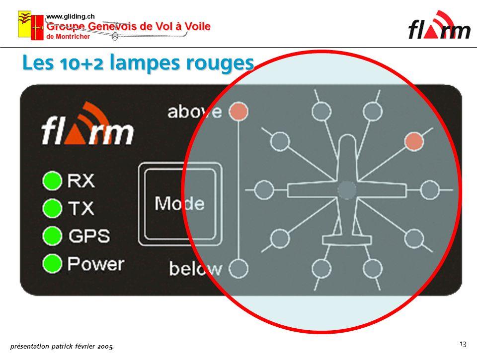 présentation patrick février 2005. 13 Les 10+2 lampes rouges