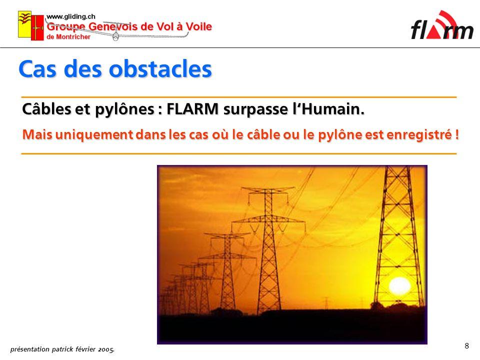 présentation patrick février 2005.8 Cas des obstacles Câbles et pylônes : FLARM surpasse lHumain.