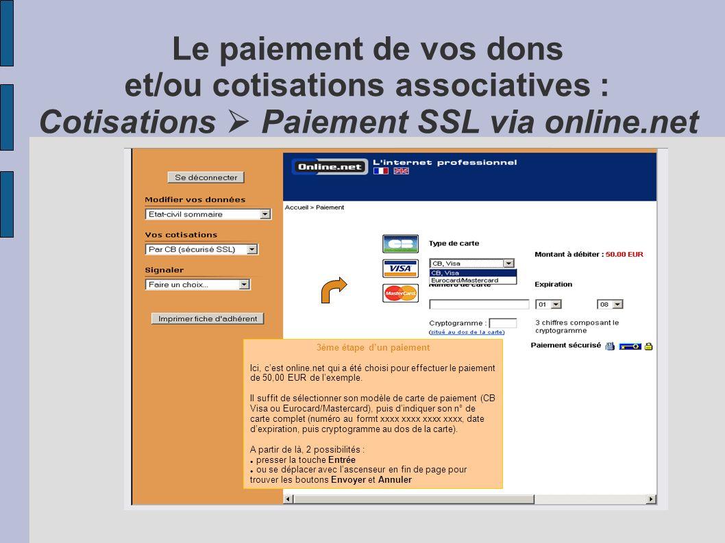 Le paiement de vos dons et/ou cotisations associatives : Vos cotisations Paiement SSL en ligne 2ème étape dun paiement Exemple ici avec 50,00 EUR puis