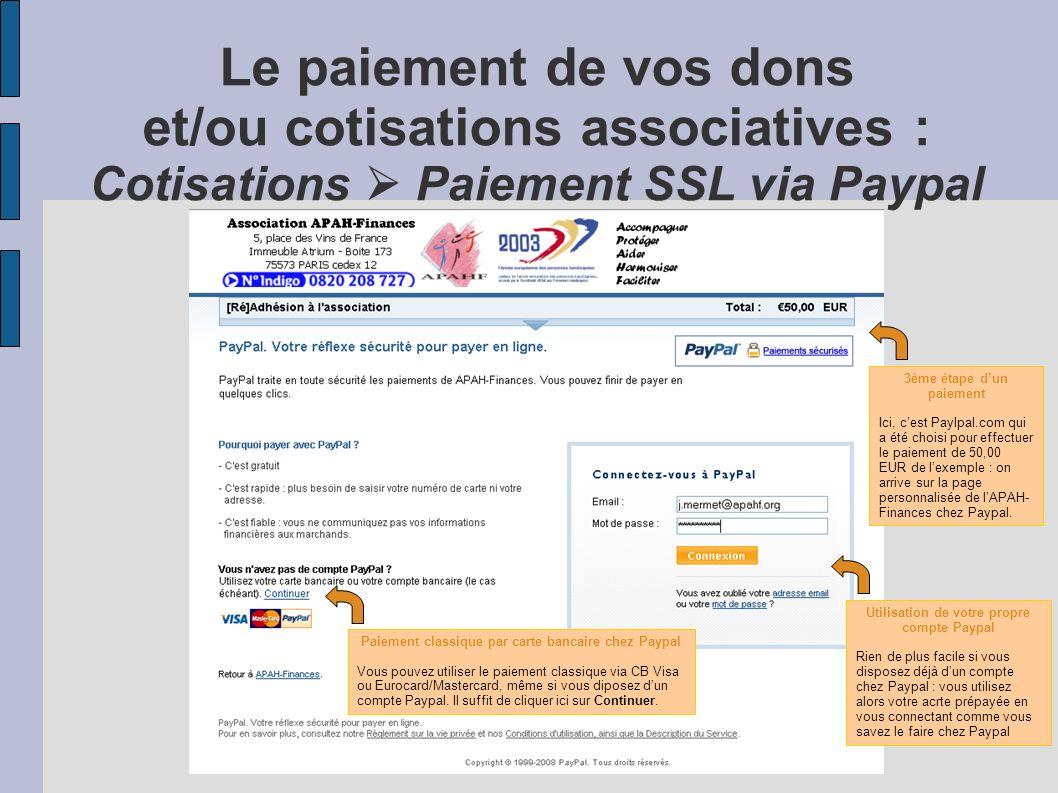 Le paiement de vos dons et/ou cotisations associatives : Cotisations Paiement SSL via online.net 3ème étape dun paiement Ici, cest online.net qui a ét