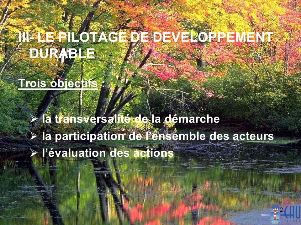 12 III- LE PILOTAGE DE DEVELOPPEMENT DURABLE Trois objectifs : la transversalité de la démarche la participation de lensemble des acteurs lévaluation des actions