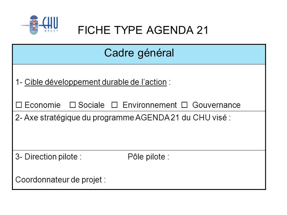 FICHE TYPE AGENDA 21 Cadre général 1- Cible développement durable de laction : Economie Sociale Environnement Gouvernance 2- Axe stratégique du progra