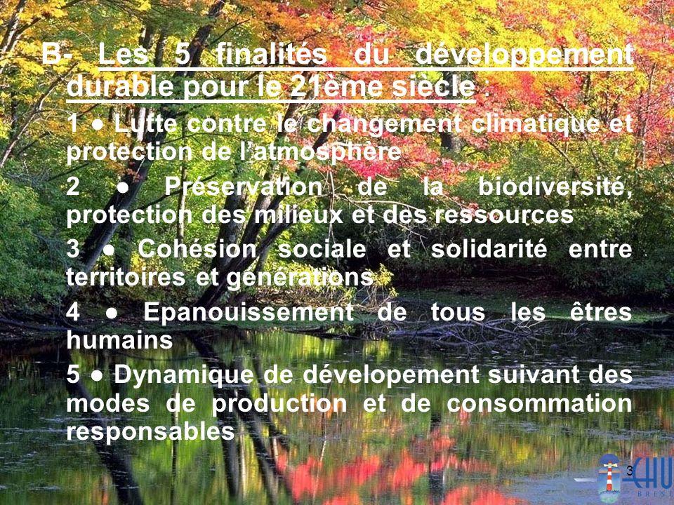 3 B- Les 5 finalités du développement durable pour le 21ème siècle : 1 Lutte contre le changement climatique et protection de latmosphère 2 Préservati