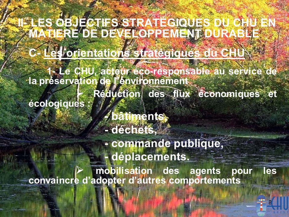 8 II- LES OBJECTIFS STRATEGIQUES DU CHU EN MATIERE DE DEVELOPPEMENT DURABLE C- Les orientations stratégiques du CHU 1- Le CHU, acteur éco-responsable