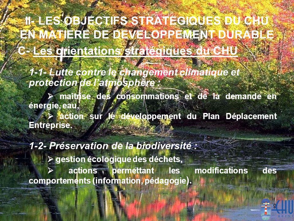 9 II- LES OBJECTIFS STRATEGIQUES DU CHU EN MATIERE DE DEVELOPPEMENT DURABLE C- Les orientations stratégiques du CHU 1-1- Lutte contre le changement cl