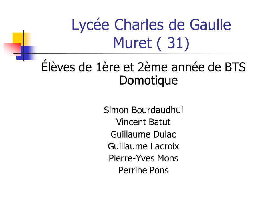 Lycée Charles de Gaulle Muret ( 31) Élèves de 1ère et 2ème année de BTS Domotique Simon Bourdaudhui Vincent Batut Guillaume Dulac Guillaume Lacroix Pi