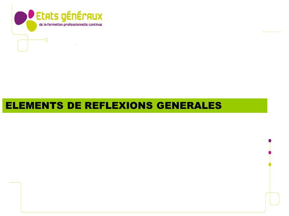 ELEMENTS DE REFLEXIONS GENERALES
