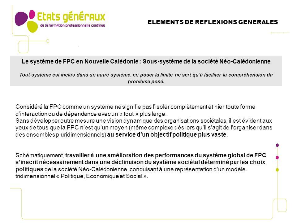 Le système de FPC en Nouvelle Calédonie : Sous-système de la société Néo-Calédonienne Tout système est inclus dans un autre système, en poser la limite ne sert quà faciliter la compréhension du problème posé.