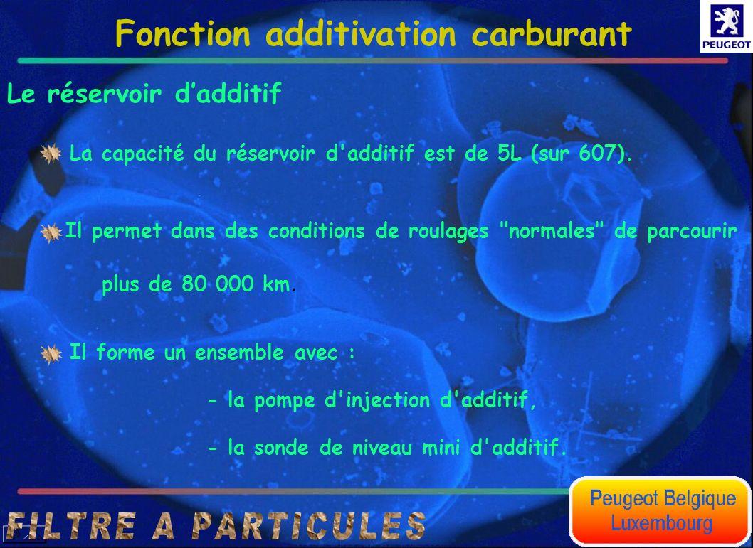 Fonction additivation carburant Le réservoir dadditif La capacité du réservoir d'additif est de 5L (sur 607). Il permet dans des conditions de roulage
