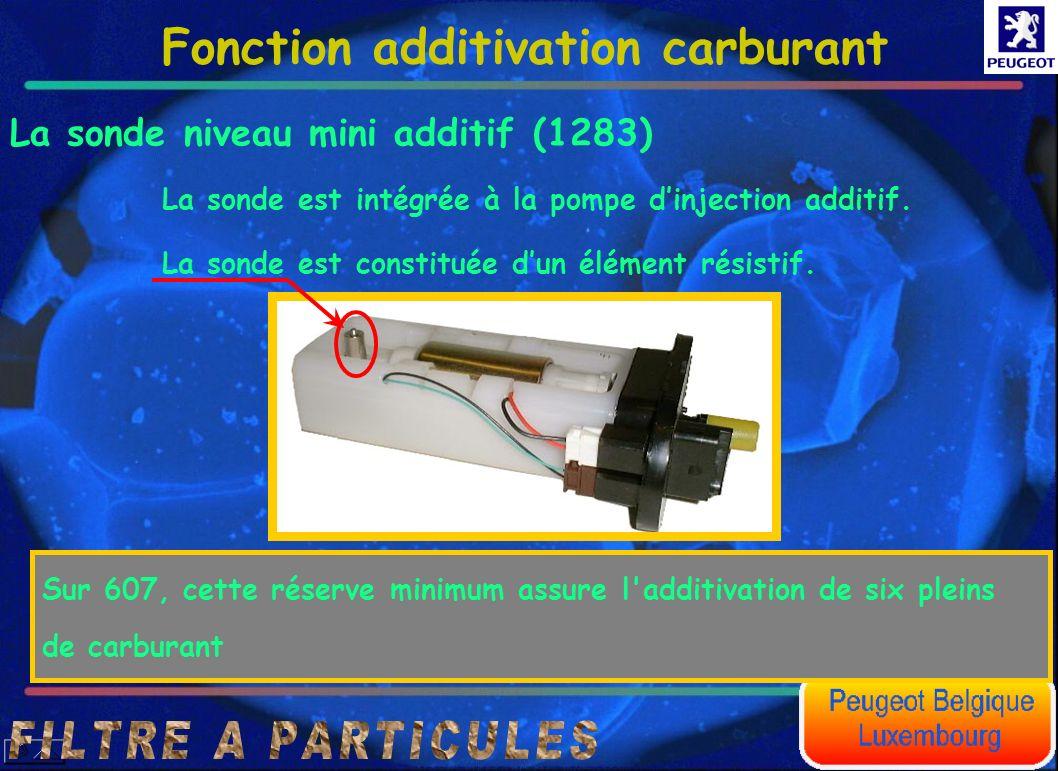 Fonction additivation carburant La sonde niveau mini additif (1283) La sonde est intégrée à la pompe dinjection additif. La sonde est constituée dun é