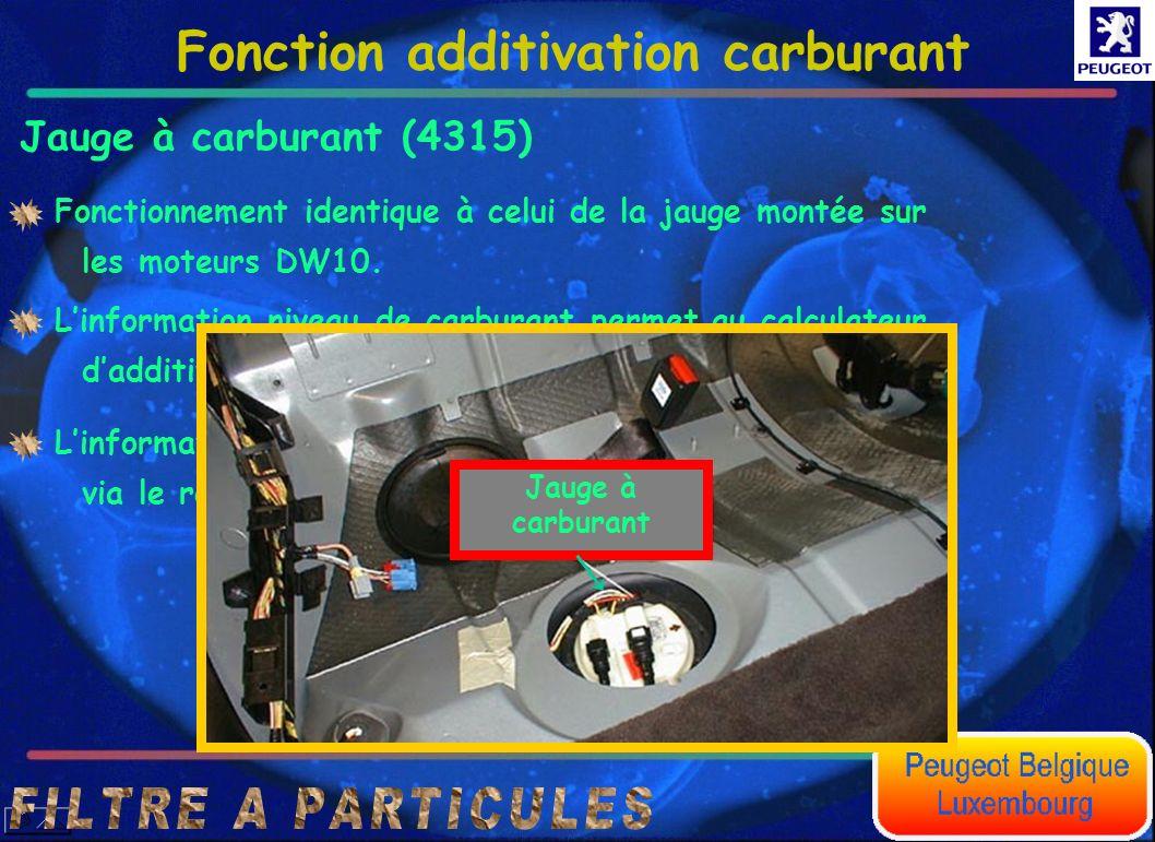 Jauge à carburant (4315) Fonction additivation carburant Fonctionnement identique à celui de la jauge montée sur les moteurs DW10. Linformation niveau