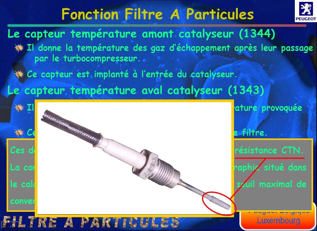 Le capteur température amont catalyseur (1344) Le capteur température aval catalyseur (1343) Il donne la température des gaz déchappement après leur p