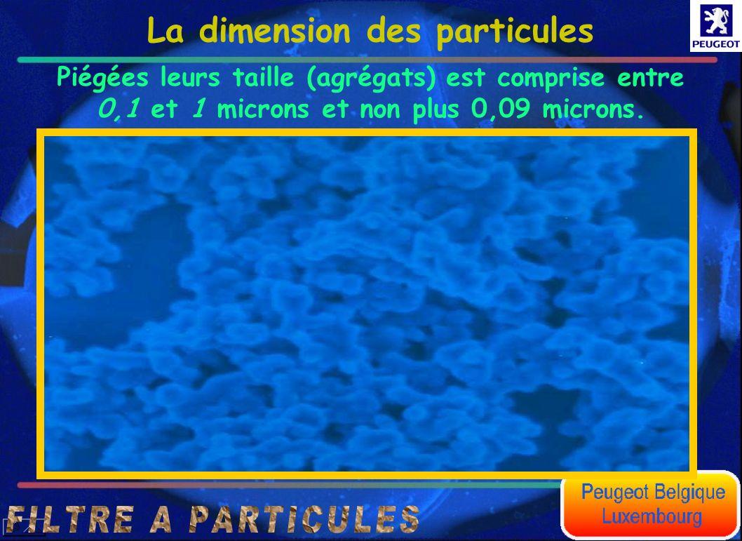 La dimension des particules Piégées leurs taille (agrégats) est comprise entre 0,1 et 1 microns et non plus 0,09 microns.