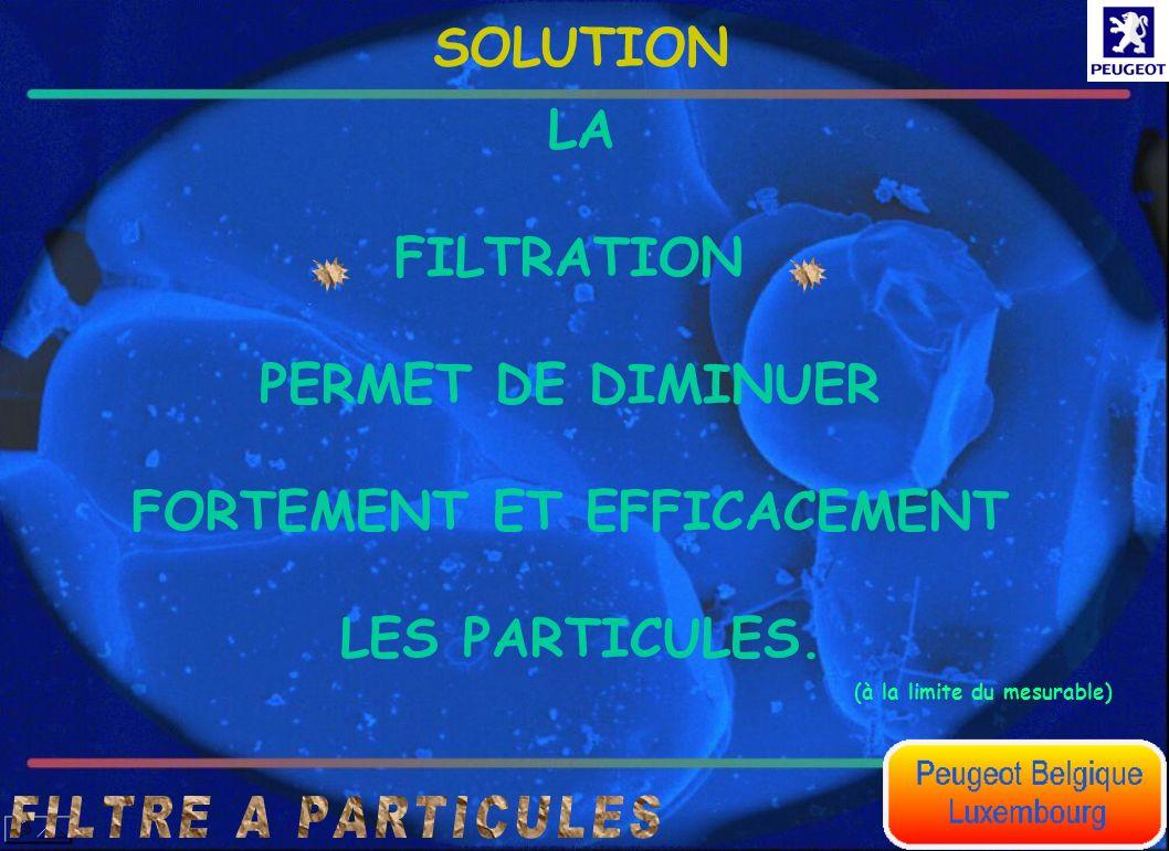 LA FILTRATION PERMET DE DIMINUER FORTEMENT ET EFFICACEMENT LES PARTICULES. SOLUTION (à la limite du mesurable)
