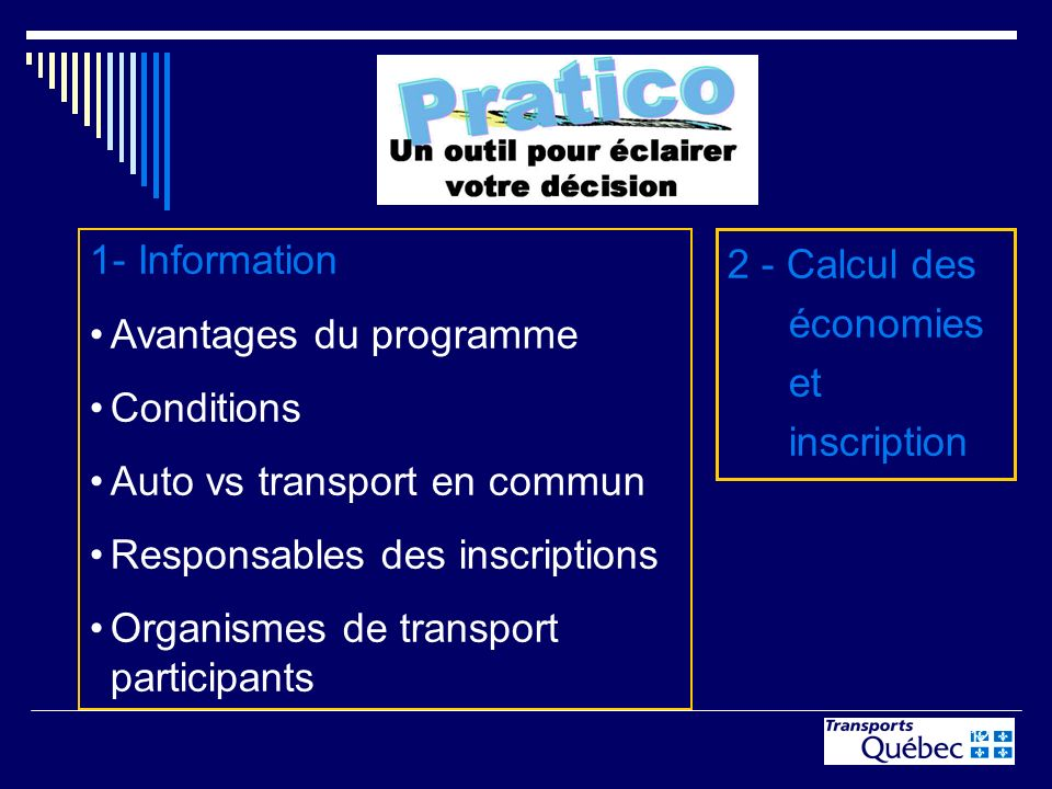 12 1- Information Avantages du programme Conditions Auto vs transport en commun Responsables des inscriptions Organismes de transport participants 2 -