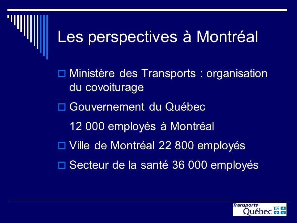 15 Les perspectives à Montréal Ministère des Transports : organisation du covoiturage Gouvernement du Québec 12 000 employés à Montréal Ville de Montr