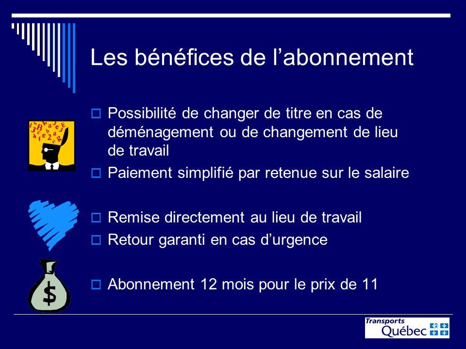 8 Les bénéfices de labonnement Possibilité de changer de titre en cas de déménagement ou de changement de lieu de travail Paiement simplifié par reten