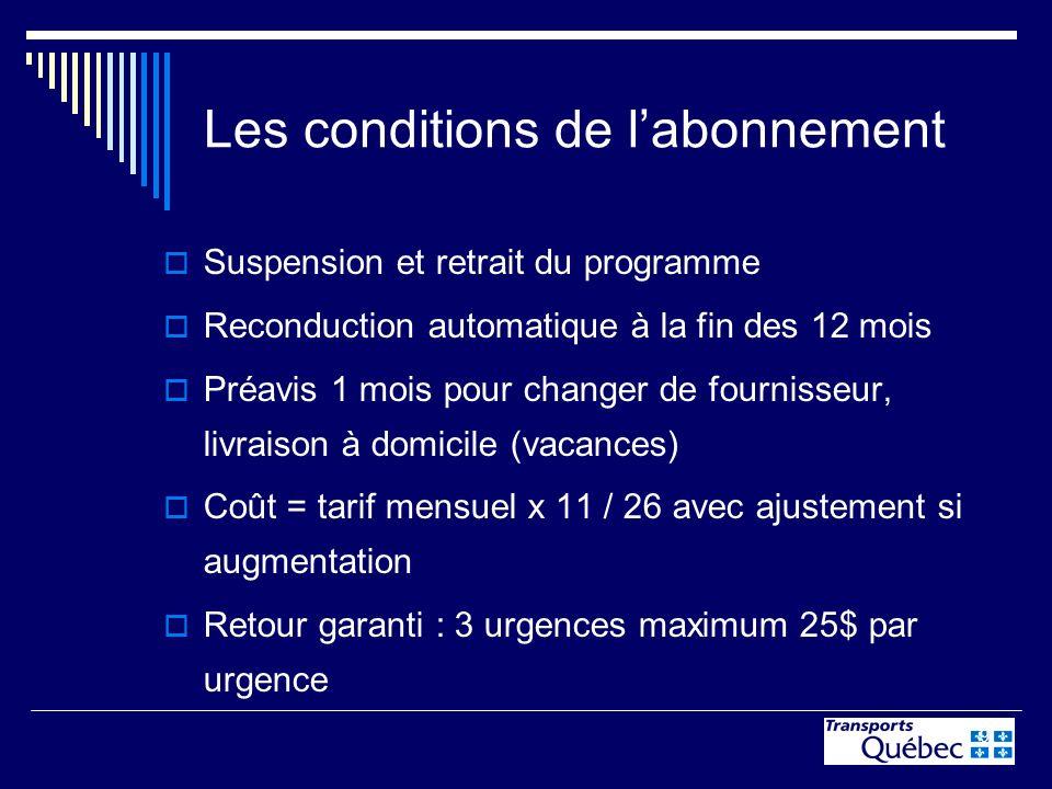 9 Les conditions de labonnement Suspension et retrait du programme Reconduction automatique à la fin des 12 mois Préavis 1 mois pour changer de fourni