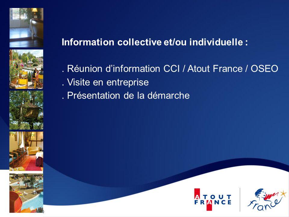 Mise à jour le 12/09/2010 Information collective et/ou individuelle :. Réunion dinformation CCI / Atout France / OSEO. Visite en entreprise. Présentat