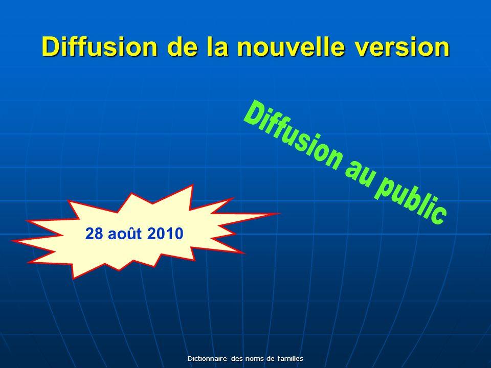 Dictionnaire des noms de familles Contenu du CD-Rom 2 e édition Noms de famille Pays Régions Départements Villes Lignes de données 41 669 81 70 101 181 105 11 913
