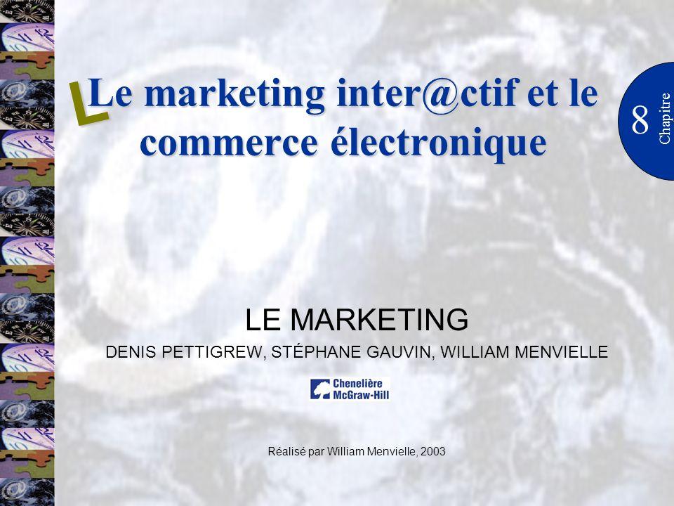 Le marketing inter@ctif et le commerce électronique 8 Chapitre LE MARKETING DENIS PETTIGREW, STÉPHANE GAUVIN, WILLIAM MENVIELLE Réalisé par William Me