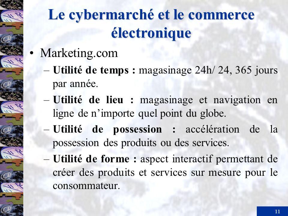 11 Le cybermarché et le commerce électronique Marketing.com –Utilité de temps : magasinage 24h/ 24, 365 jours par année. –Utilité de lieu : magasinage