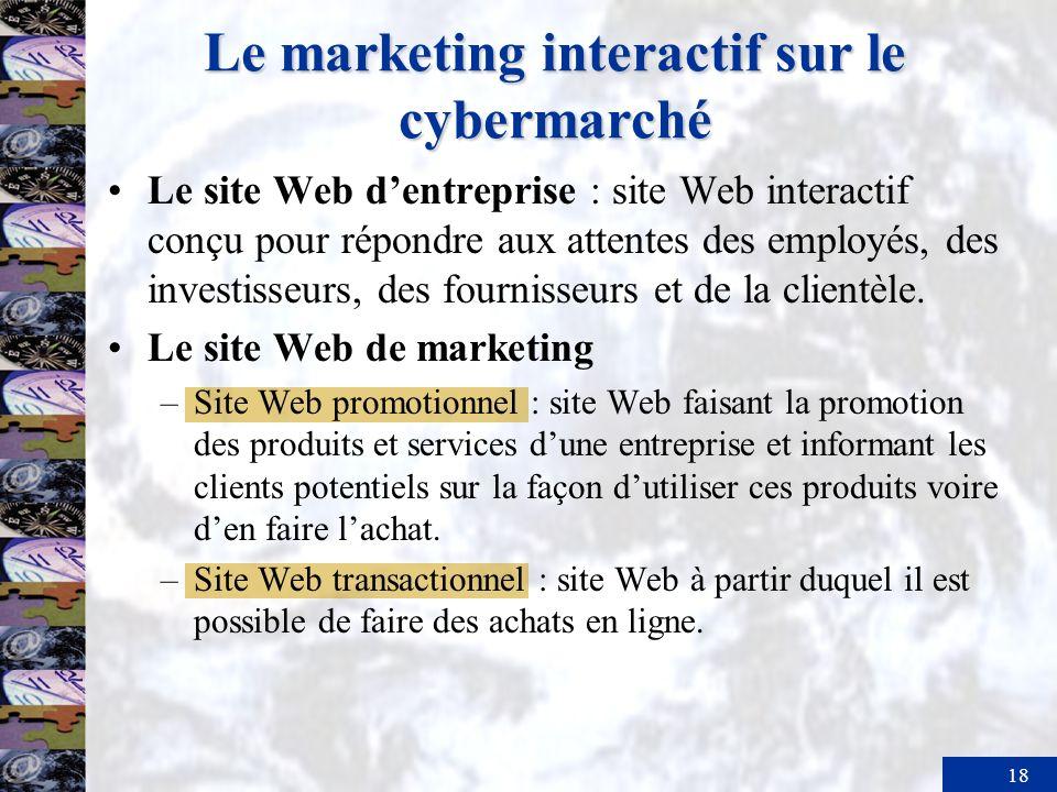 18 Le marketing interactif sur le cybermarché Le site Web dentreprise : site Web interactif conçu pour répondre aux attentes des employés, des investi