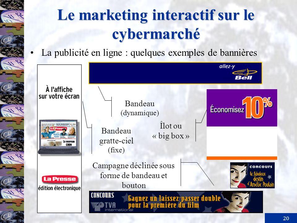 20 Le marketing interactif sur le cybermarché La publicité en ligne : quelques exemples de bannières Bandeau gratte-ciel (fixe) Bandeau (dynamique) Ca