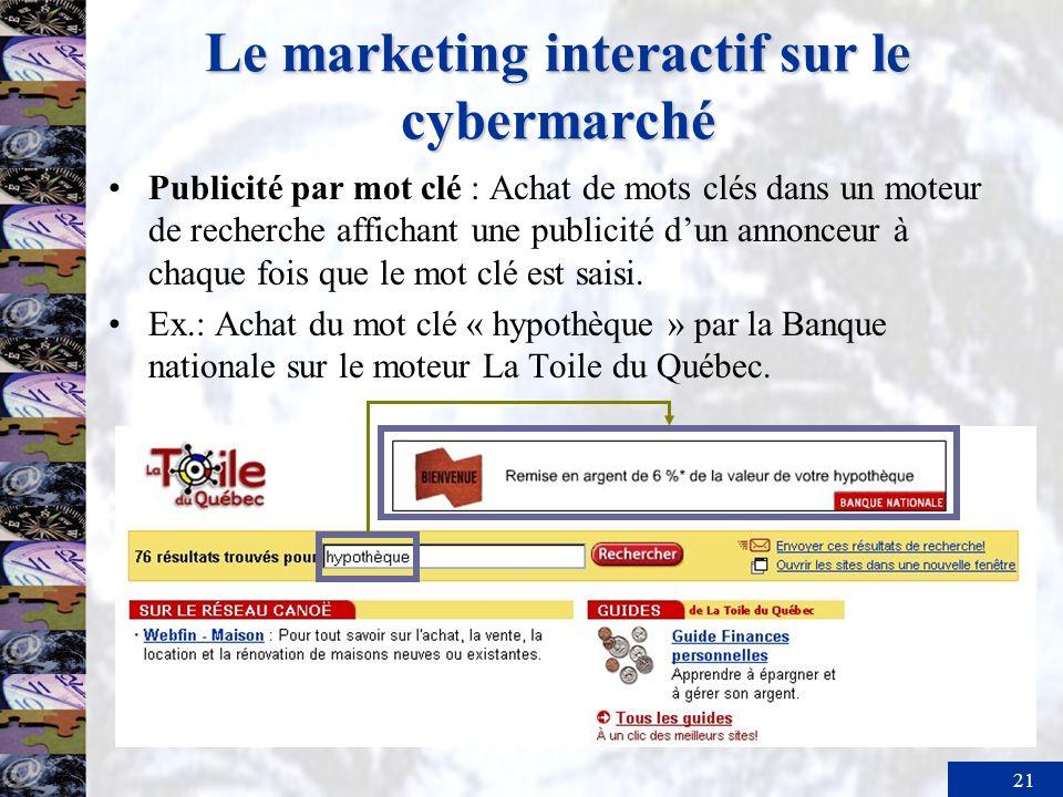 21 Le marketing interactif sur le cybermarché Publicité par mot clé : Achat de mots clés dans un moteur de recherche affichant une publicité dun annon